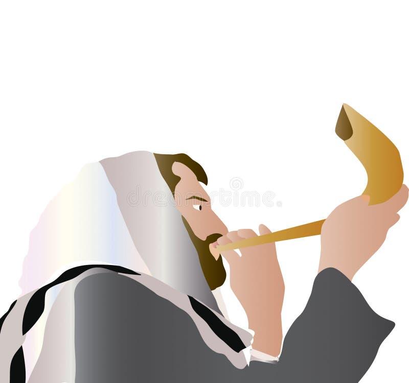 mężczyzna podmuchowy shofar royalty ilustracja