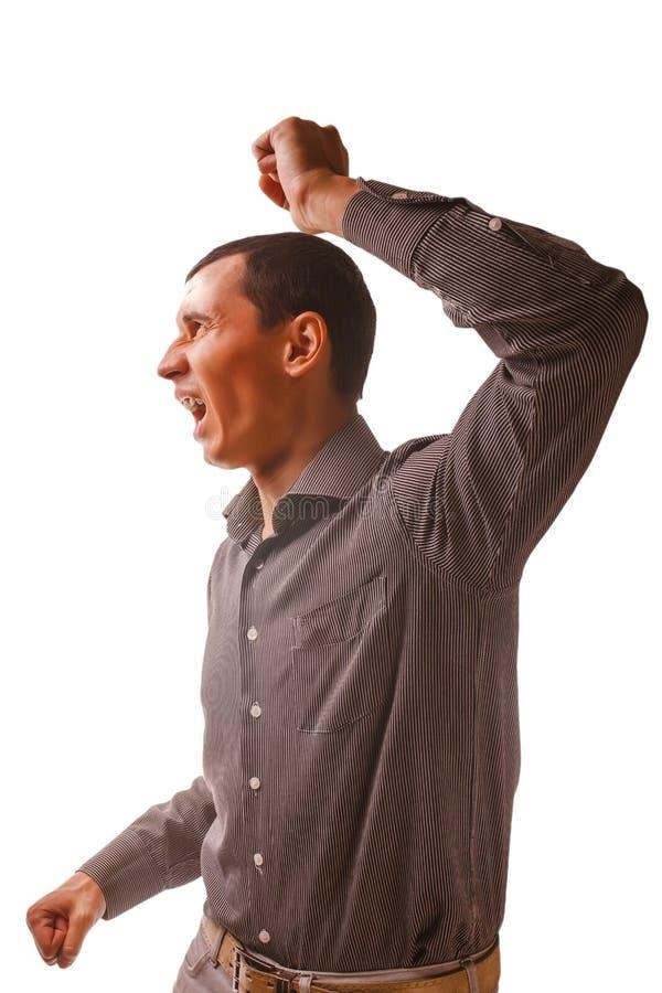 Mężczyzna podnosi jego pięści bicia przemoc domową, fotografia stock
