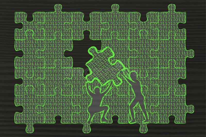 Mężczyzna podnosi kawałek łamigłówka z binarnym kodem wypełniać przerwę ilustracja wektor