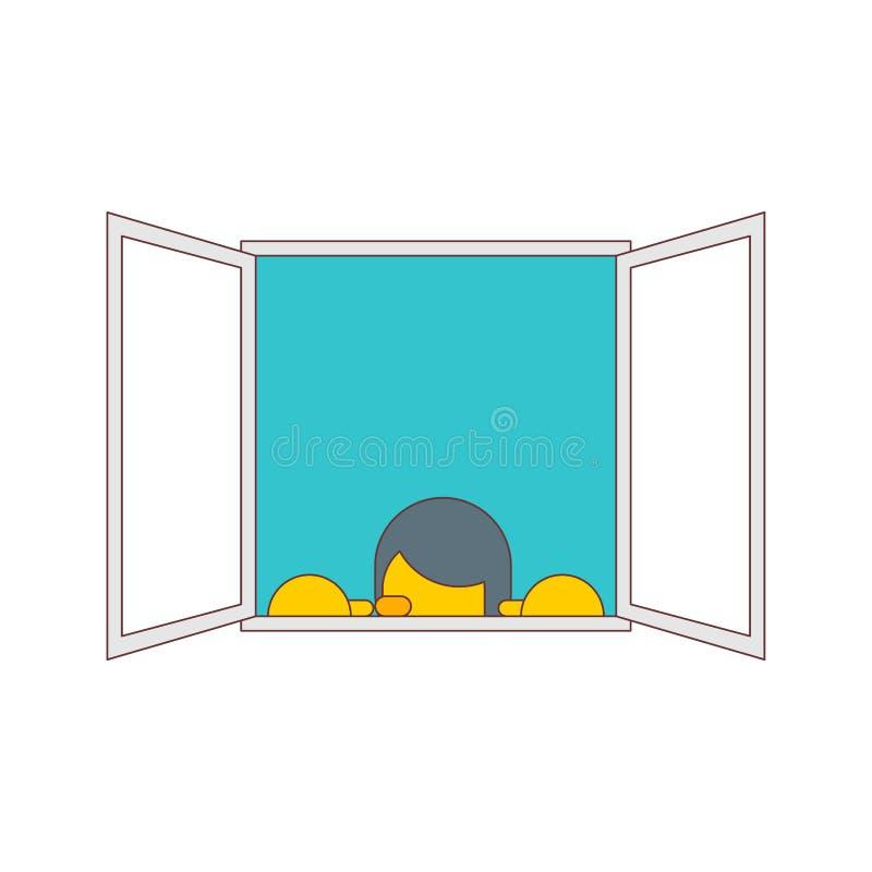 Mężczyzna Podpatruje za okno odizolowywającym r?wnie? zwr?ci? corel ilustracji wektora ilustracja wektor