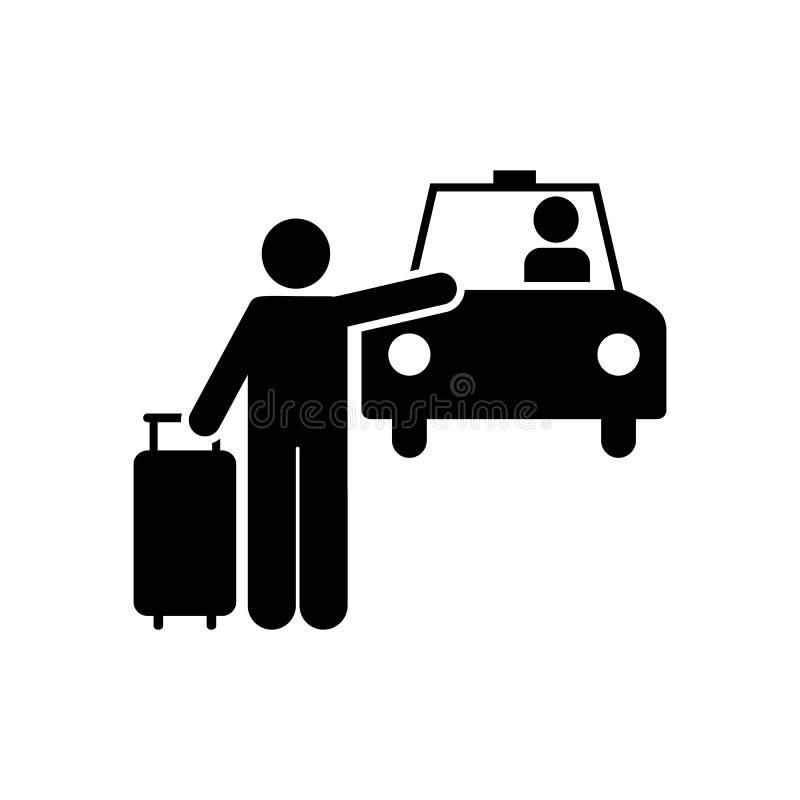 Mężczyzna, podróż, taxi, hotelowa ikona Element hotelowa piktogram ikona Premii ilo?ci graficznego projekta ikona znaki i symbole royalty ilustracja