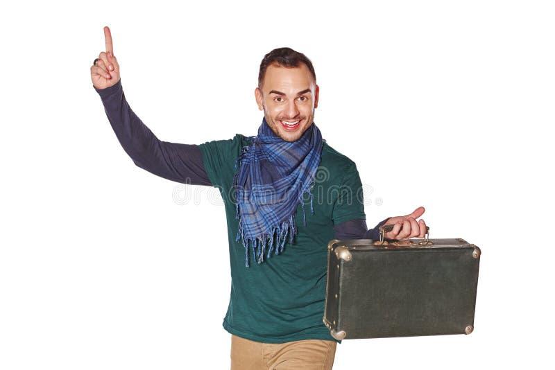 Mężczyzna podróżnik wskazuje palec up z pomysłem zdjęcia stock