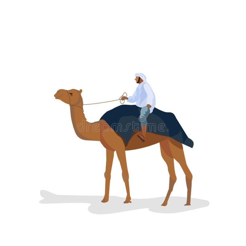 Mężczyzna podróżuje na wielbłądzie na białym tle ilustracji