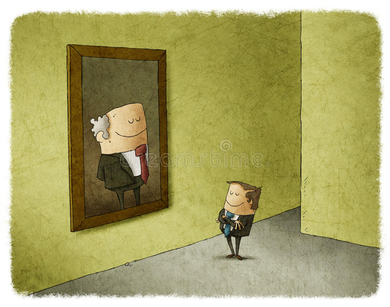 Mężczyzna podziwia portret jego poprzednik royalty ilustracja