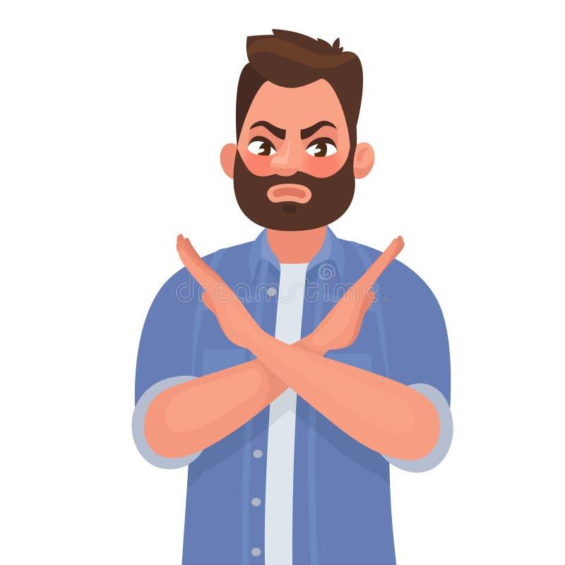 Mężczyzna pokazuje gest żadny lub przerwę również zwrócić corel ilustracji wektora ilustracji