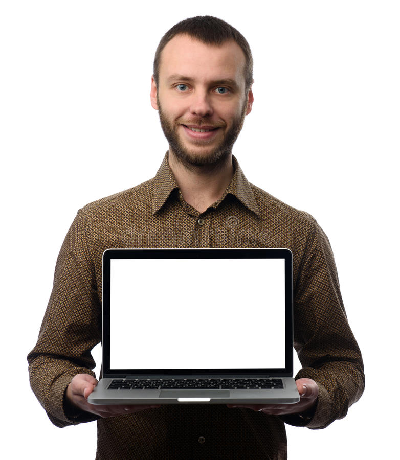Mężczyzna pokazuje laptop z pustym ekranem fotografia stock