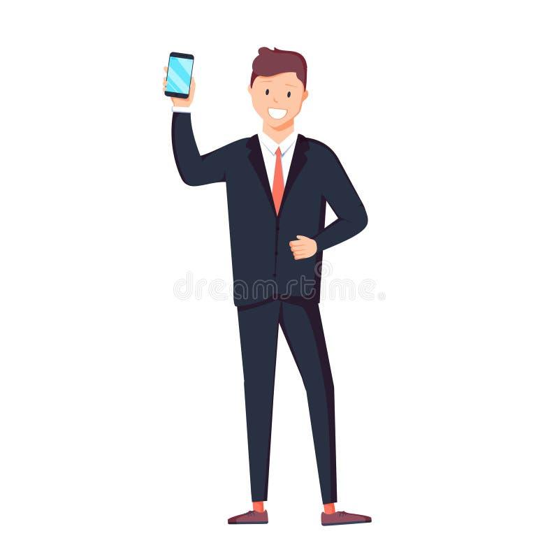 Mężczyzna pokazuje telefon Ludzie i gadżety Wektorowa ilustracja w kreskówka stylu ilustracji