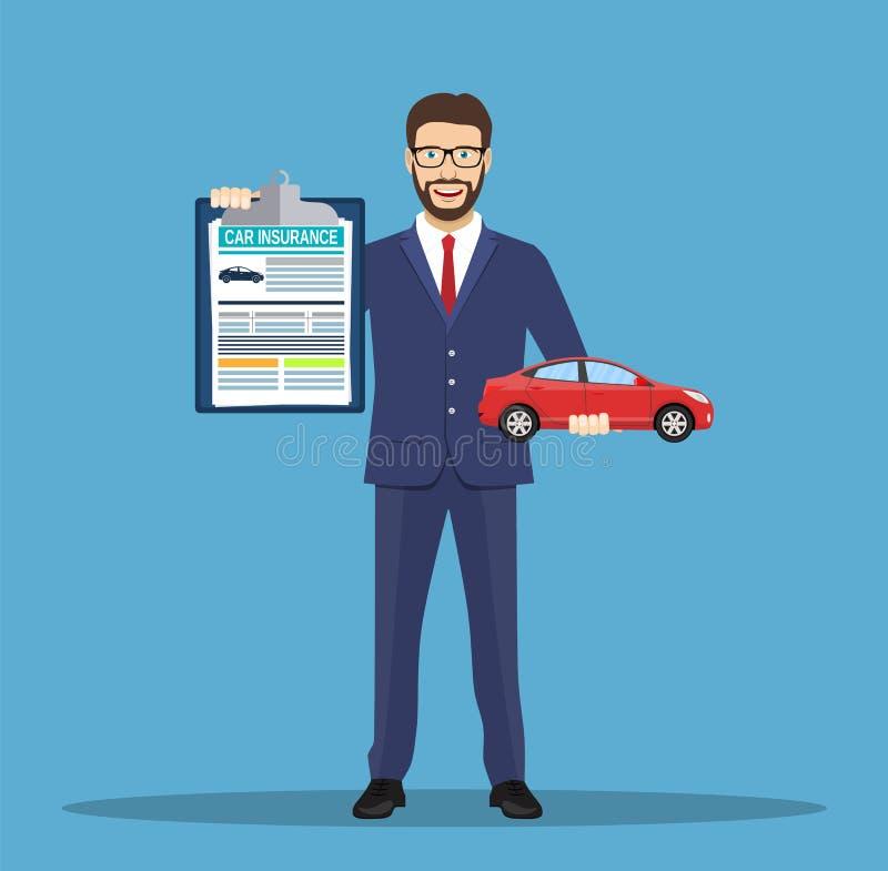 Mężczyzna pokazuje ubezpieczenie samochodu ilustracja wektor