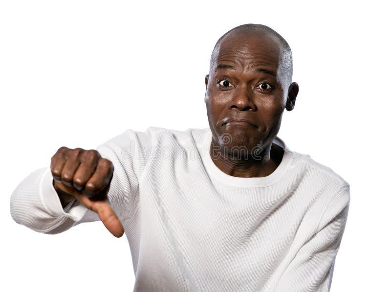 Mężczyzna pokazywać kciuki zestrzela znaka fotografia stock