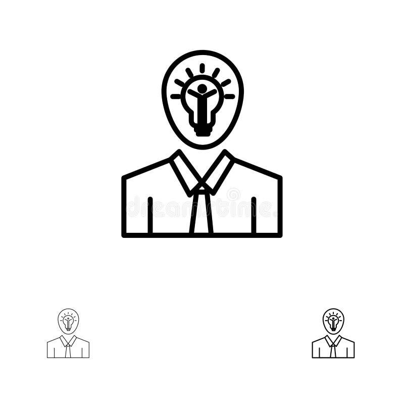 Mężczyzna, pomysł, sukces, światło, Wzrostowy czerni linii ikony set, Śmiały i cienki royalty ilustracja