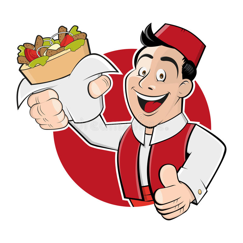 Mężczyzna porci kebabu doner