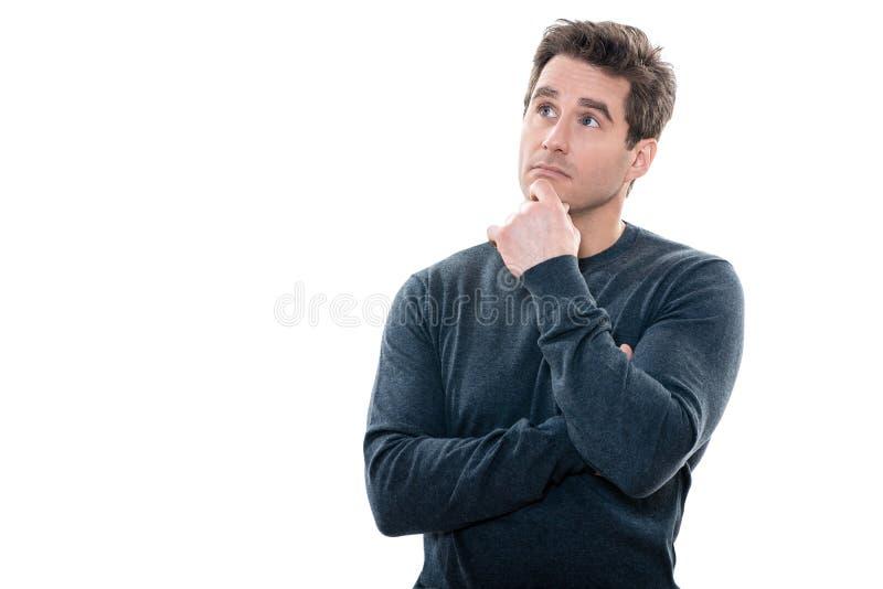 Mężczyzna portret myśleć niespokojny przyglądający up zdjęcie stock