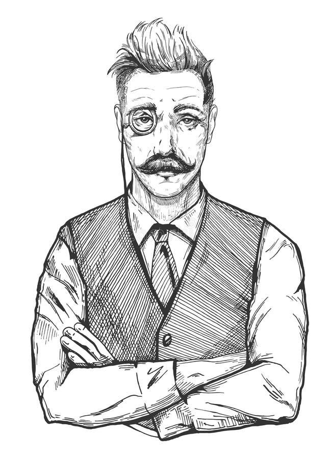 Mężczyzna portret w rocznika stylu ilustracja wektor