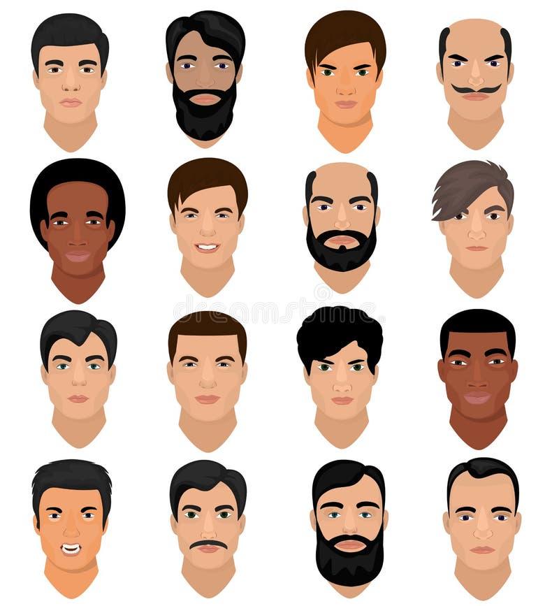 Mężczyzna portreta męskiego charakteru wektorowa twarz chłopiec z fryzury i kreskówki manlike osobą z różnorodnym skóry brzmienie ilustracji