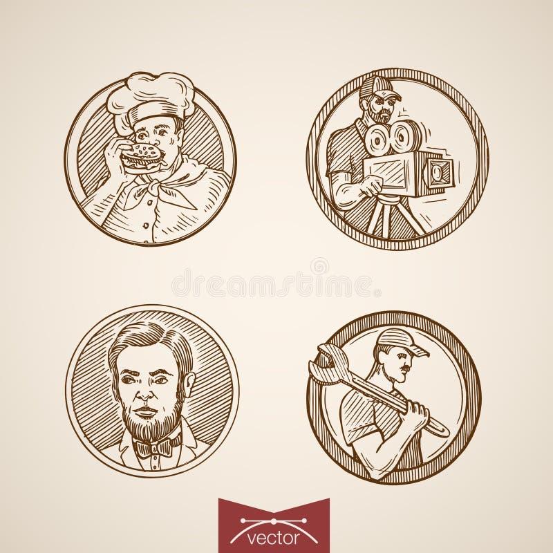 Mężczyzna portreta medalionu kucharza naczelnego rytownictwa rocznika retro wektor royalty ilustracja
