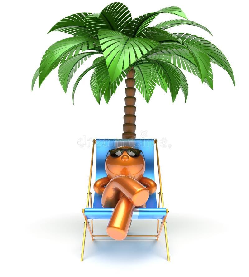 Mężczyzna postaci z kreskówki pokładu krzesła relaksujący plażowy drzewko palmowe ilustracja wektor