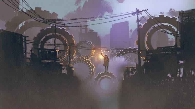 Mężczyzna pozycja na gigant przekładniach w ciemnym mieście ilustracja wektor