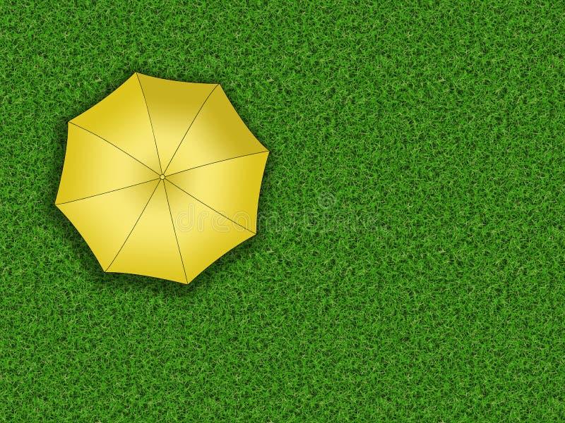 Mężczyzna pozycja pod parasolem ilustracja wektor