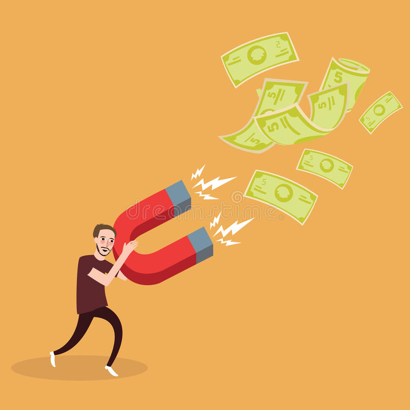 Mężczyzna próba przyciągać pieniądze z magnes inwestorską władzą zarabia zysku bezwolnego dochód ilustracja wektor