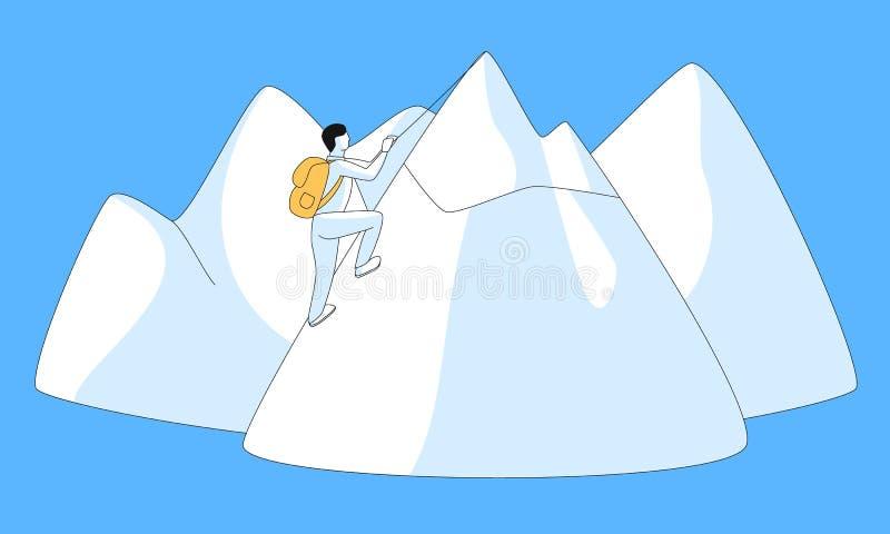 Mężczyzna próbuje podbijać odgórnego pojęcie ilustracji