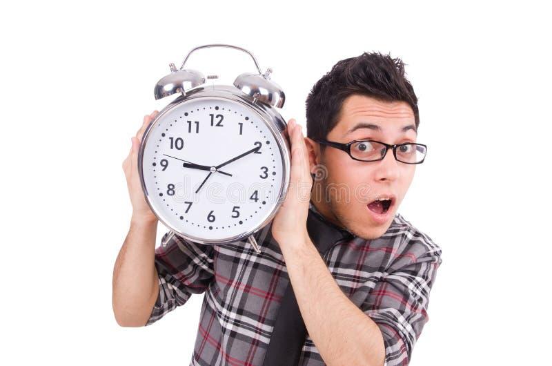 Mężczyzna próbuje spotykać ostatecznego termin odizolowywającego z zegarem fotografia royalty free