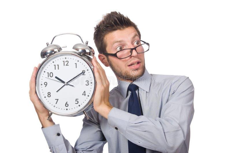 Mężczyzna próbuje spotykać ostatecznego termin odizolowywającego z zegarem zdjęcia royalty free