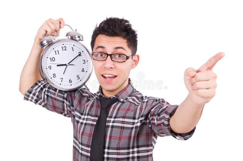 Mężczyzna próbuje spotykać ostatecznego termin odizolowywającego z zegarem zdjęcie stock