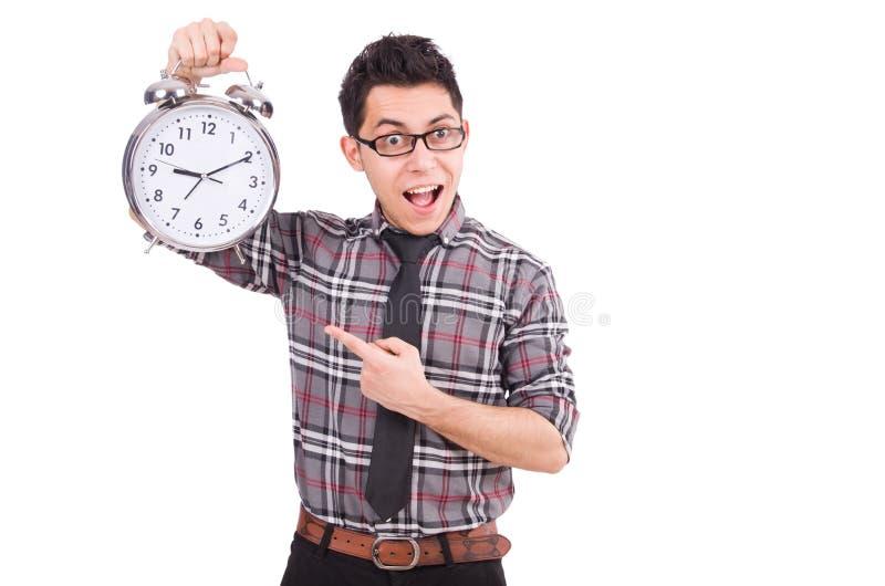 Mężczyzna próbuje spotykać ostatecznego termin odizolowywającego z zegarem fotografia stock