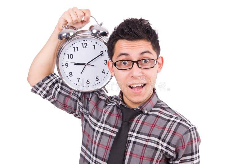 Mężczyzna próbuje spotykać ostatecznego termin odizolowywającego z zegarem obraz royalty free