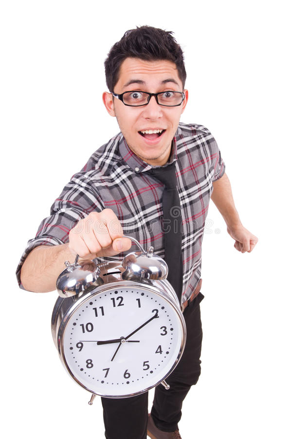 Mężczyzna próbuje spotykać ostatecznego termin odizolowywającego z zegarem obrazy stock