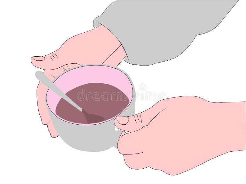 Mężczyzna próby utrzymywać ciepłą filiżankę gorący napój royalty ilustracja