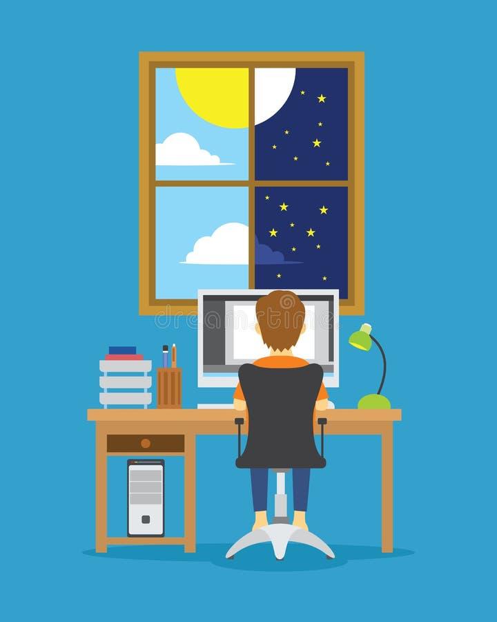 Mężczyzna praca od dnia nocy ilustracja ilustracji