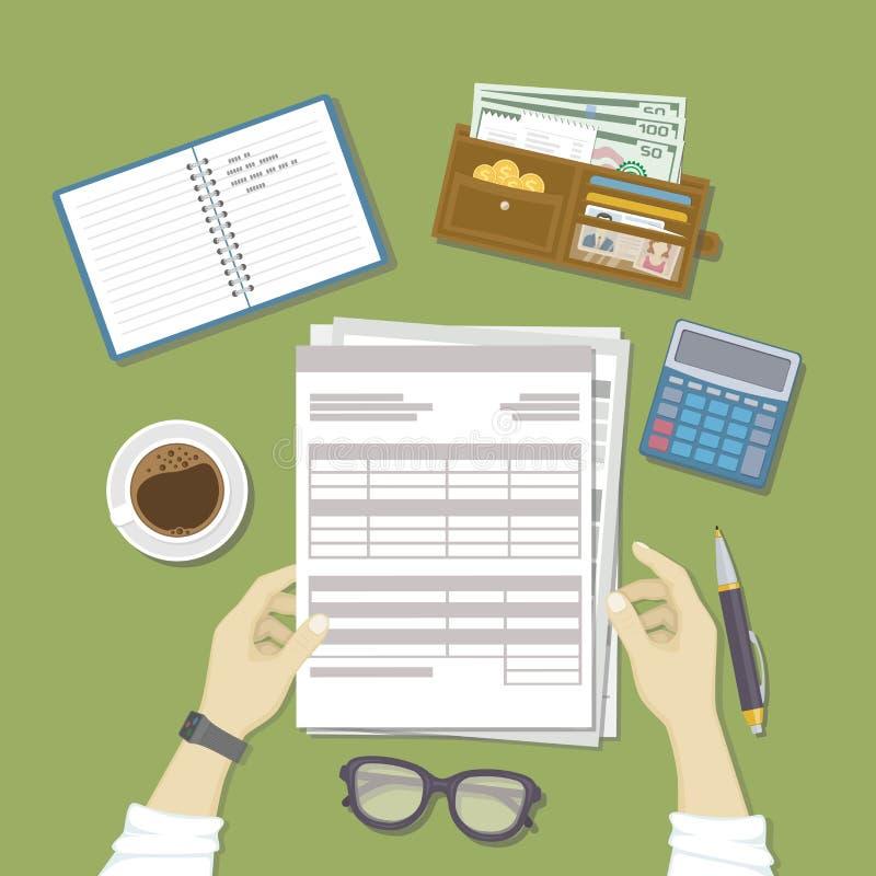 Mężczyzna  pracować z dokumentami Mężczyzna ` s ręki trzymają konta, lista płac, podatek forma Praca biznes, pieniężny proces ilustracja wektor