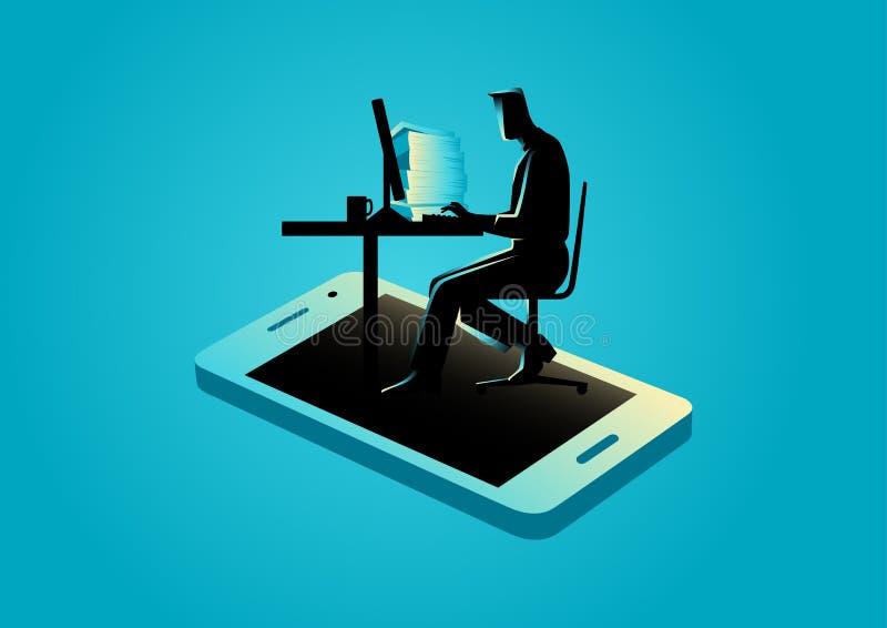 Mężczyzna pracuje na komputerze pojawiać się od smartphone ilustracja wektor