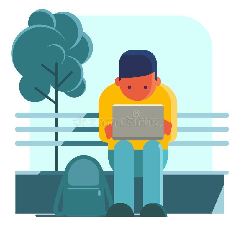 Mężczyzna pracuje na laptopie na ulicie ilustracji