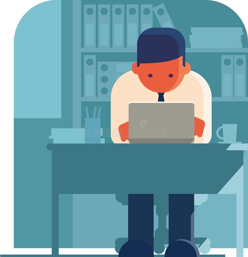Mężczyzna pracuje na laptopie w biurze ilustracja wektor