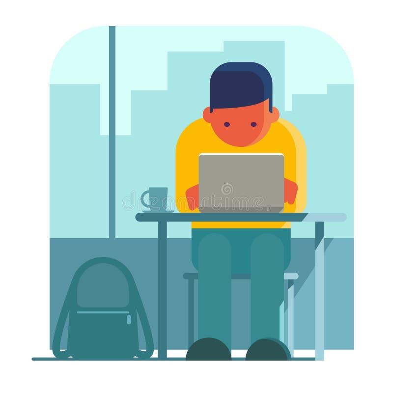 Mężczyzna pracuje na laptopie w kawiarni ilustracji