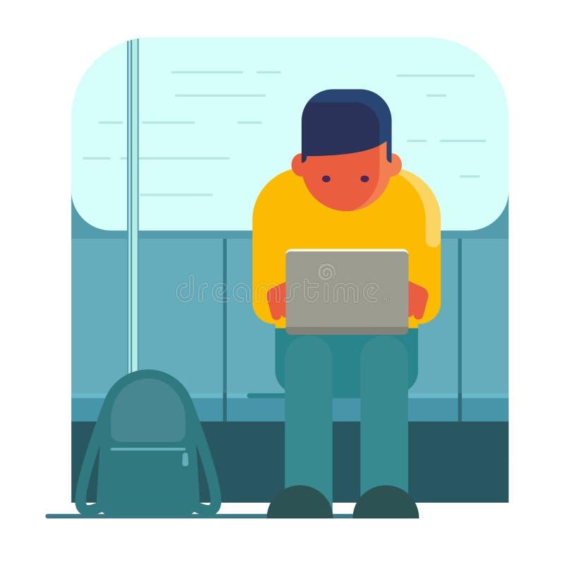 Mężczyzna pracuje na laptopu transporcie publicznie royalty ilustracja