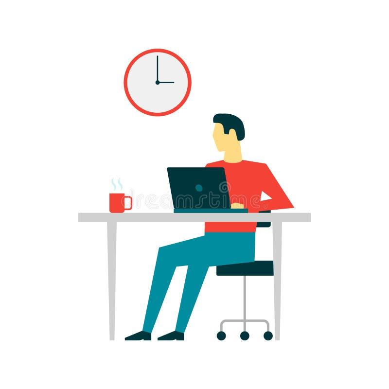 Mężczyzna pracuje przy komputerem na białym tle ilustracji
