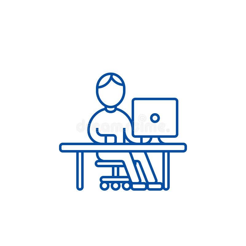 Mężczyzna pracuje przy komputerem przy stół linii ikony pojęciem Obsługuje działanie przy komputerem przy stołowym płaskim wektor royalty ilustracja