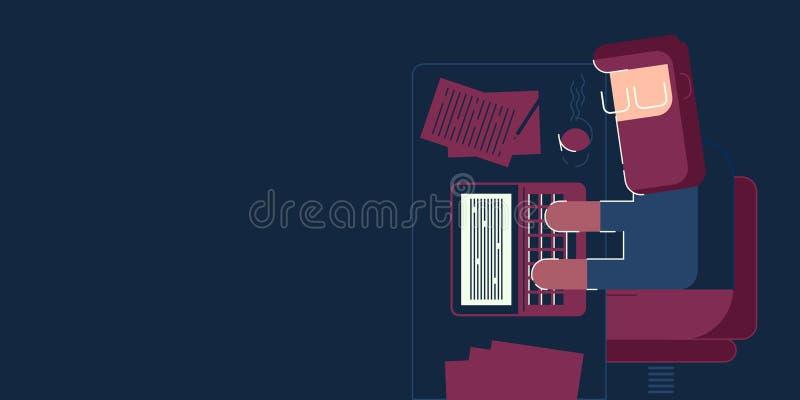 Mężczyzna pracuje przy nocą ilustracji