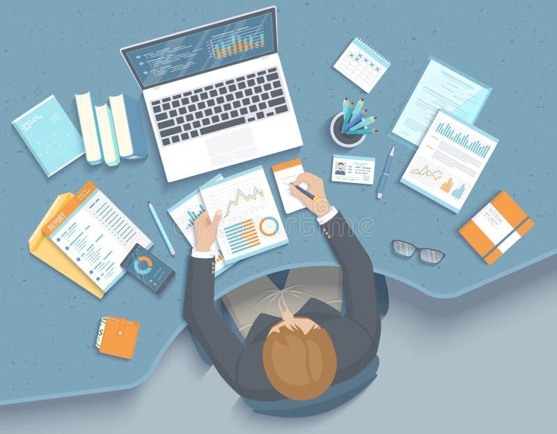 Mężczyzna pracuje w biurze przy stołem Miejsce pracy Workspace Desktop karło, biznesowe biurowe dostawy, laptop Mapy, grafika royalty ilustracja