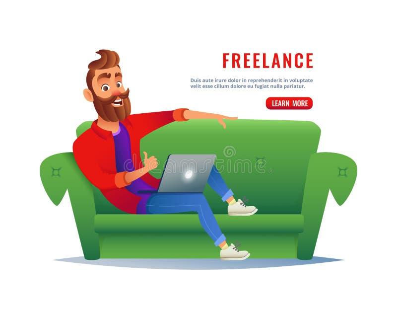 Mężczyzna pracuje w domu na leżance Freelancer obsiadanie na kanapie z laptopem, pracuje daleko przez interneta Praca przy royalty ilustracja