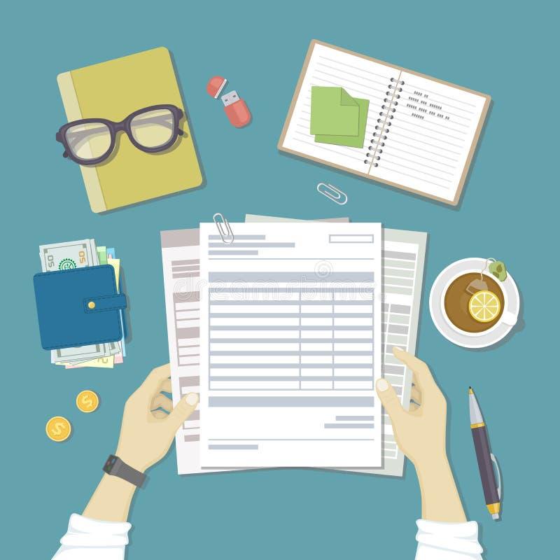 Mężczyzna pracy z pieniężnymi dokumentami Pojęcie płacić rachunki, zapłaty, podatki Ludzkie ręki trzymają konta, lista płac, poda ilustracji