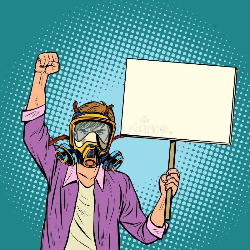 Mężczyzna protestuje przeciw zanieczyszczającemu powietrzu w masce gazowej środowisko royalty ilustracja