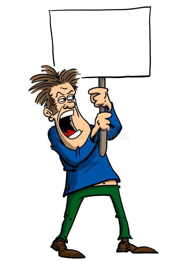 Mężczyzna protestuje z znakiem royalty ilustracja