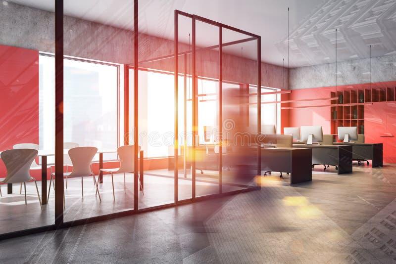 Mężczyzna przechodzący przez salę posiedzeń w czerwonym biurze ilustracji