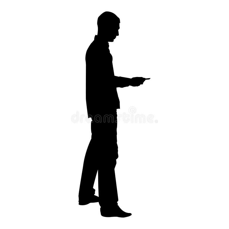 Mężczyzna przechodzi karcianą Biznesową wynagrodzenie karty kredytowej sylwetki ikony czerni koloru ilustrację royalty ilustracja