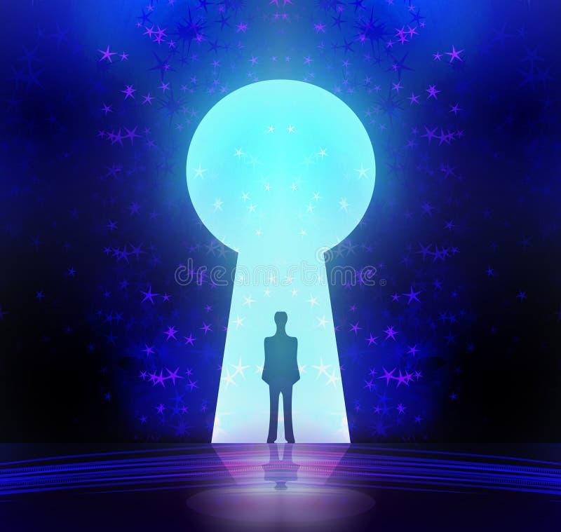 Mężczyzna przed keyhole z gwiaździstym tłem ilustracja wektor