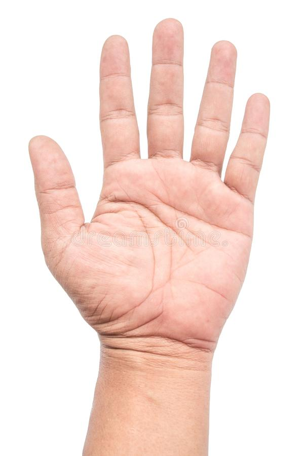 Mężczyzna przedstawienie trzyma niektóre palce na białym tle obrazy royalty free